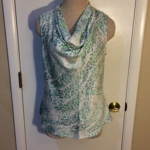 Apt 9 blouse M spotted blue green